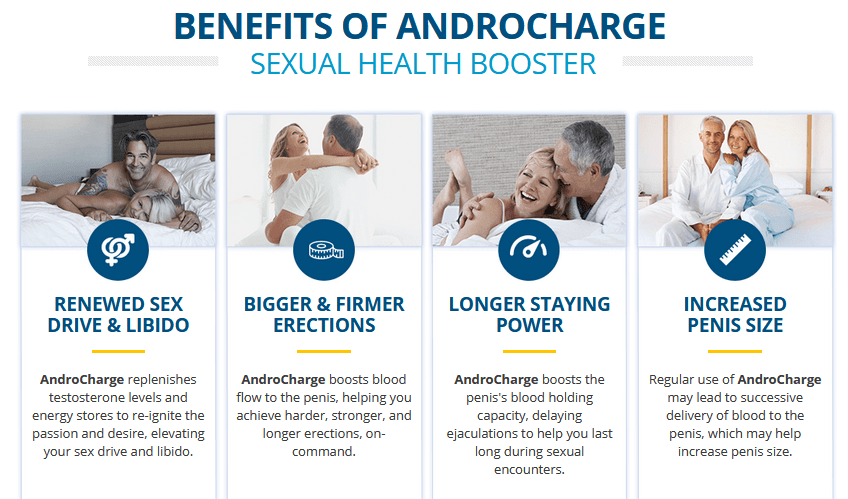 Benefits Of AndroCharge Sexual Health Booster It's Beefits Are Renewed Sex Drive & Libido,Bigger & Firmer Erections,Longer Staying Power,Increased Pinis Size.